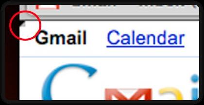 Esquina doblada arriba a la izquierda en Gmail