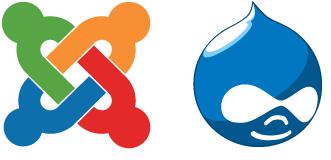 logos de Joomla y de Drupal